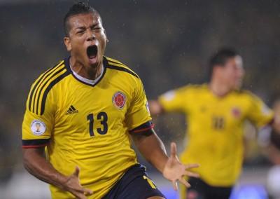 Colombian Fredy Guarin celebrates his go